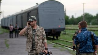 Pro-Russian rebel near train carrying plane crash bodies, Torez, Ukraine (21 July)