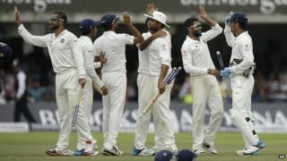 Indian players celebrate after the win on Monday