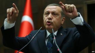 Turkey Prime Minister Recep Tayyip Erdogan addresses the Turkish government