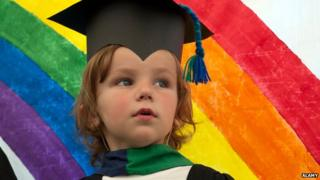 Child graduates from nursery in Cardiff, 2013