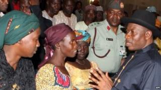 Nigeria's President Goodluck Jonathan visiting the site of Nyanya bomb in Abuja in April