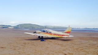 The plane on Jersey Marine beach