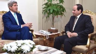 John Kerry with Egyptian President Abdel Fattah al-Sissi