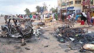 A scene from the second bomb blast in Kaduna, Nigeria on 23 July 2014