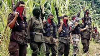 Members of the Colombian National Liberation Army(ELN) near the border town of Cucuta, Dec 1999