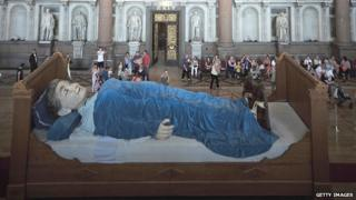 The grandmother asleep in St George's Hall