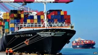A cargo ship in Qingdao, east China's Shandong province
