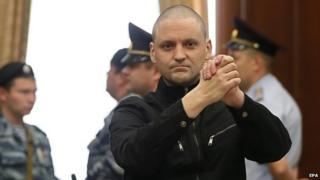 Sergei Udaltsov in court in Moscow (24 Jul 14)