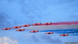 Red Arrows in flight, Sunderland International Air Show, 2013