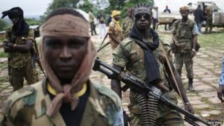 Seleka fighters in the town of Lioto (June 2014)