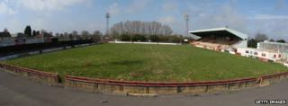 General views of Elgoods Brewery Arena, former home of Kettering Town FC