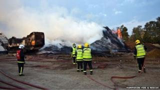 Wood chip fire in Eversley