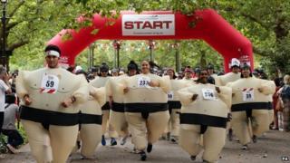 Participants start the Sumo Run -