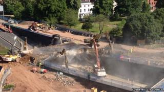 West Bridge being demolished