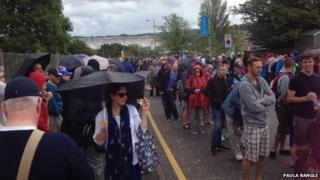 Fans queue at the park and ride at Silverburn