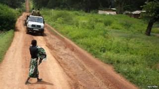 A car on a road to Bambari in CAR - May 2014