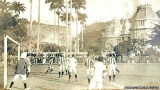 Exeter City Football Club playing the Brazil national team in 1914