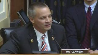 Representative Curt Clawson speaks during a congressional hearing on US-India relations.