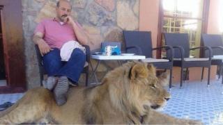 Hashmat Karzai with his lion