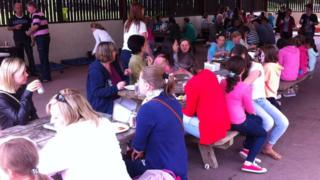 The Chernobyl children and their host families enjoy a break at Castle Archdale