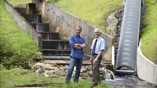 Robson Green, left and Andrew Sawyer at Cragside