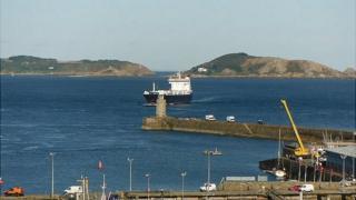 MV Arrow approaching Guernsey's St Peter Port Harbour