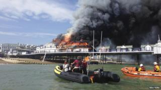 RNLI lifeboat crew tackles flames