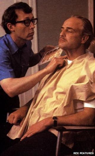 Dick Smith and Marlon Brando on Godfather set