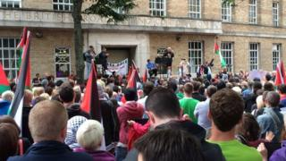Demonstrators at BBC Broadcasting House in Belfast