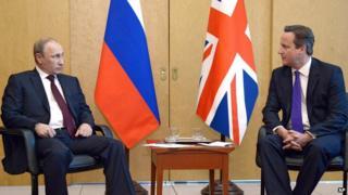Vladimir Putin and David Cameron in June 2014