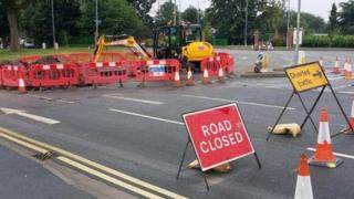 Road closure in Worcester