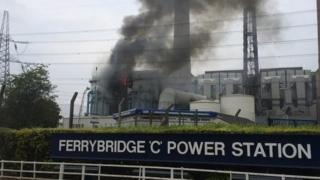 The fire at Ferrybridge C power station in West Yorkshire