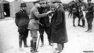 David Lloyd George with commander-in-chief of the British Expeditionary Force, Sir Douglas Haig, and General Joseph Jacques Cesaire Joffre, commander-in-chief of the French armies