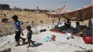 A makeshift shelter in Gaza.