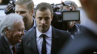 Oscar Pistorius arrives at his murder trial - 8 August 2014