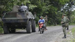 Colombian army near the border with Ecuador following Farc attack, 15 July