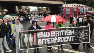 Some of the anti-internment marchers heading towards Belfast city centre