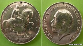 Both sides of Hugh McMullen's medal