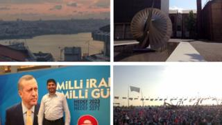A view over Istanbul; outside Bilgi University; Yavuz Değirmenci; and a rally for Prime Minister Erdogan.