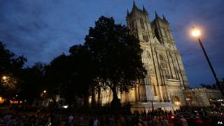 A view of Westminster Abbey, in London, during a candle lit prayer vigil and solemn reflection to mark centenary of First World War.