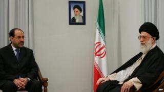 File photo of Nouri Maliki and Ayatollah Ali Khamenei