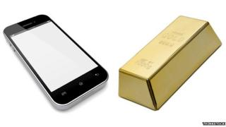 A phone and a bar of gold