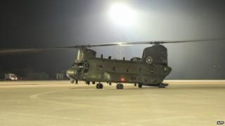 RAF Chinook helicopter in Cyprus