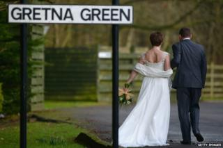A couple with a Gretna Green sign in the foreground