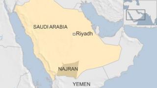 Map showing Najran in Saudi Arabia