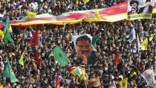 PKK protest with Ocalan flags