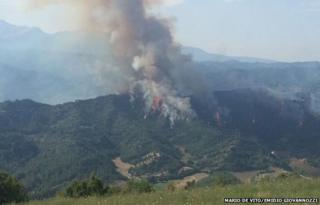 Fire blazing in the hills of Ascoli