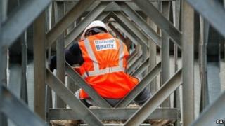 A Balfour Beatty workman on a construction site