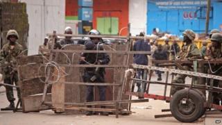 Liberia security forces block a road