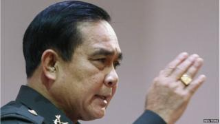 """Thai Army chief General Prayuth Chan-ocha speaks during an event titled """"The Roadmap for Thailand Reform"""" at The Army Club in Bangkok, 9 August, 2014"""